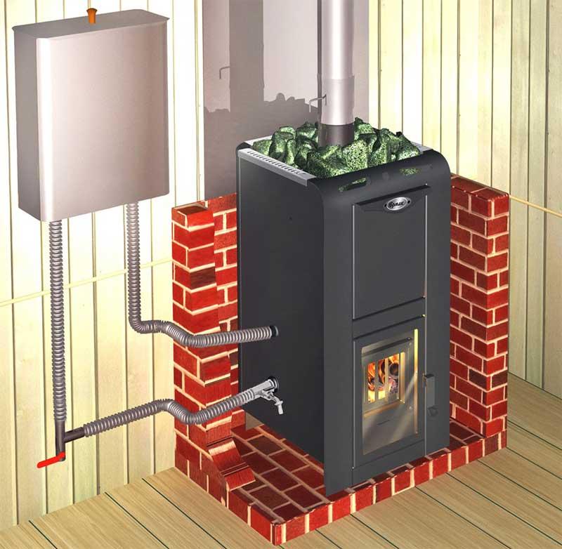 Печь-с-теплообменником-и-подключенным-баком-для-воды