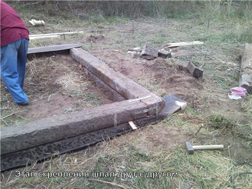 Фундамент своими руками из деревянных шпал 71