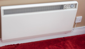 Photo of a white electric wall radiator