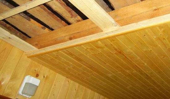 подшивной потолок в бане