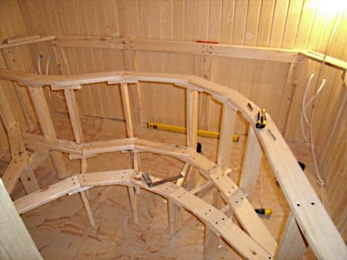 Сооружение каркаса под полки бани