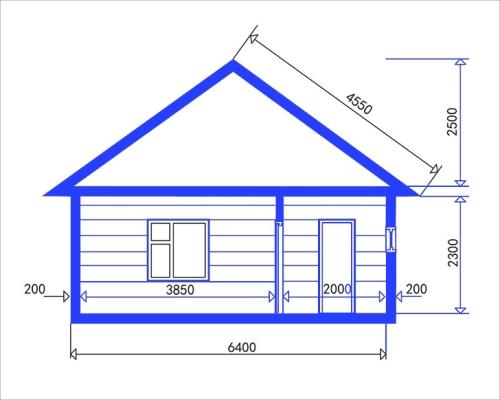 Проект бани с указанием высоты потолка