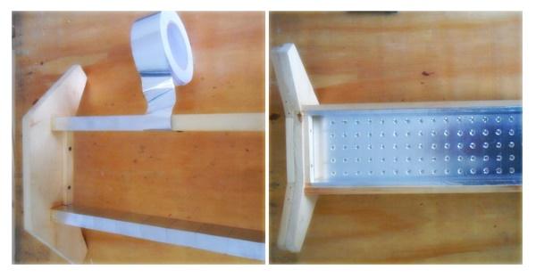Обклеивание деревянных элементов алюминиевым скотчем